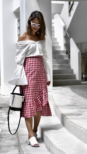 top,tumblr,off the shoulder,off the shoulder top,shirt,white shirt,skirt,red skirt,wrap ruffle skirt,ruffle,wrap skirt,sandals,mules,bag,white bag,sunglasses
