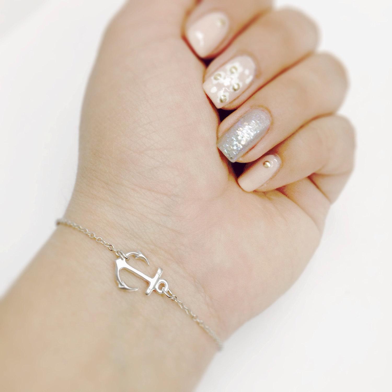 Gold anchor bracelet, dainty bracelet, nautical jewelry, silver anchor