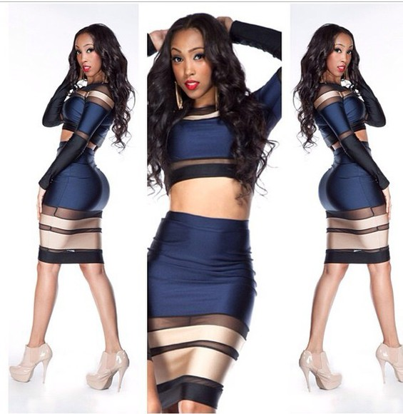 skirt navy top pencil outfit skirt set two-piece two-piece navy blue and gold mesh mesh outfit high waisted skirt pencil skity pencil skirt clubwear party dress