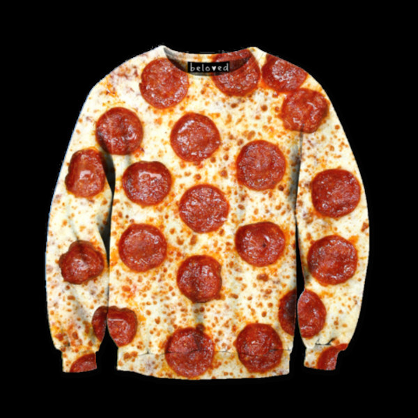 sweater sweatshirt pizza