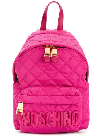 quilted backpack leather purple pink bag