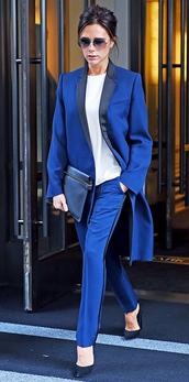 pants,suit,blue,blazer,coat,victoria beckham,fall outfits