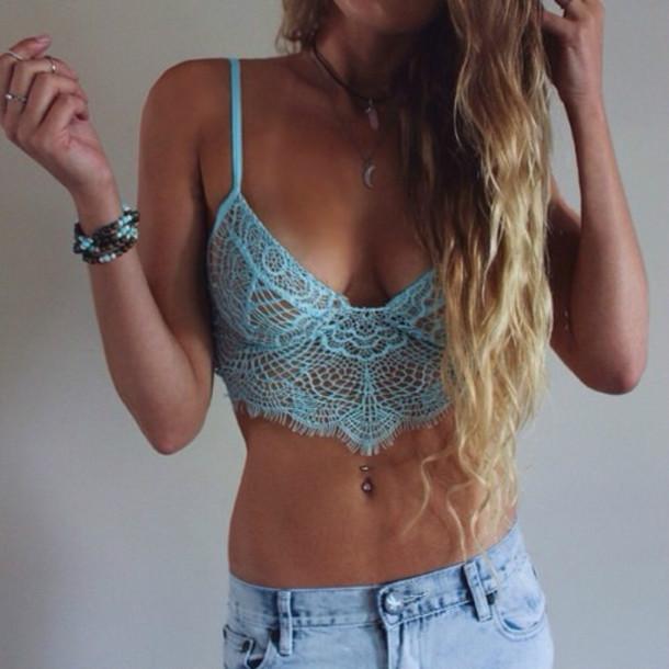 underwear hot crop swimwear bra blue sexy top crop tops lace lace top lace crop top lingerie piercing girly shirt tank top light blue crochet bralette crochet crop top