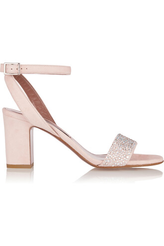embellished sandals suede metallic pastel pink pastel pink shoes
