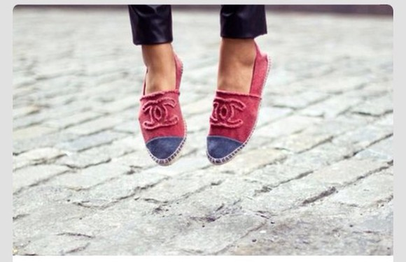shoes pink pink shoes blue blue and pink chanel shoes espadrilles
