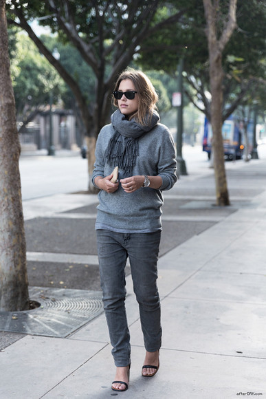 after drk coat sweater jeans sunglasses shoes jacket scarf