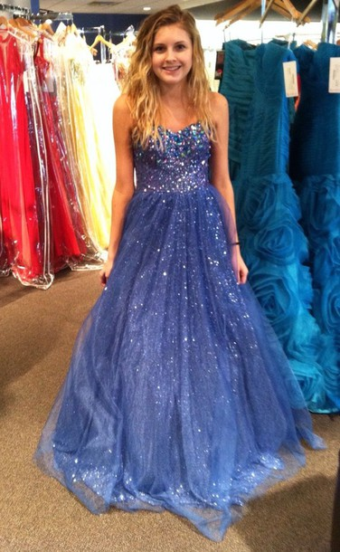 Dress Prom Blue Long Prom Dress Formal Sparkly Dress Floor