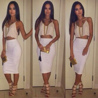 skirt white skirt crop tops white beige heels sexy shirt top