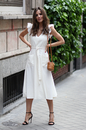 dress,white dress,bag,brown bag,shoes,sandals,black sandals,sandal heels