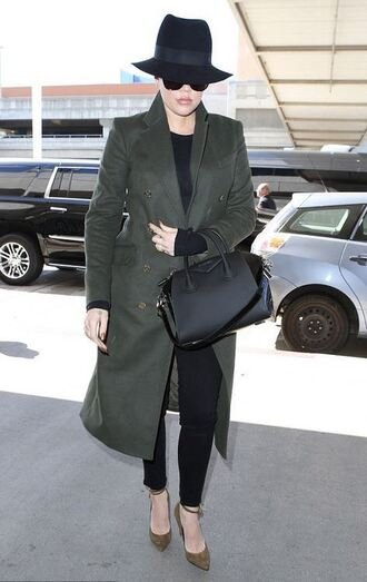 coat pumps hat khloe kardashian shoes