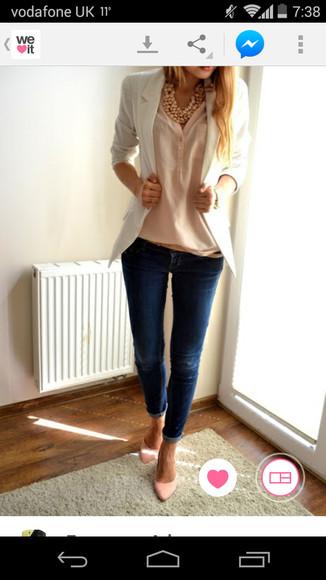 white blazer blouse