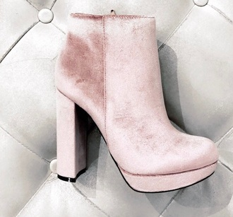 shoes pink boots velvet pink
