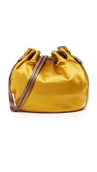 mini love drawstring bag satin mustard