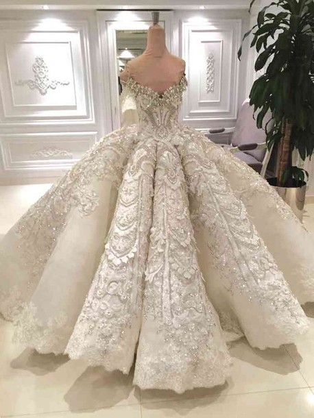 Dress: white, wedding dress, wedding, glitter, glitter dress ...