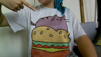 t-shirt shirt cats hamburger cute purple cat tees funny shirt graphic tee kawaii kawaii shirt