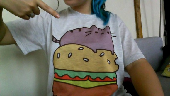 shirt tee t-shirt cute cat hamburger purple cat kitty funny shirt graphic tee