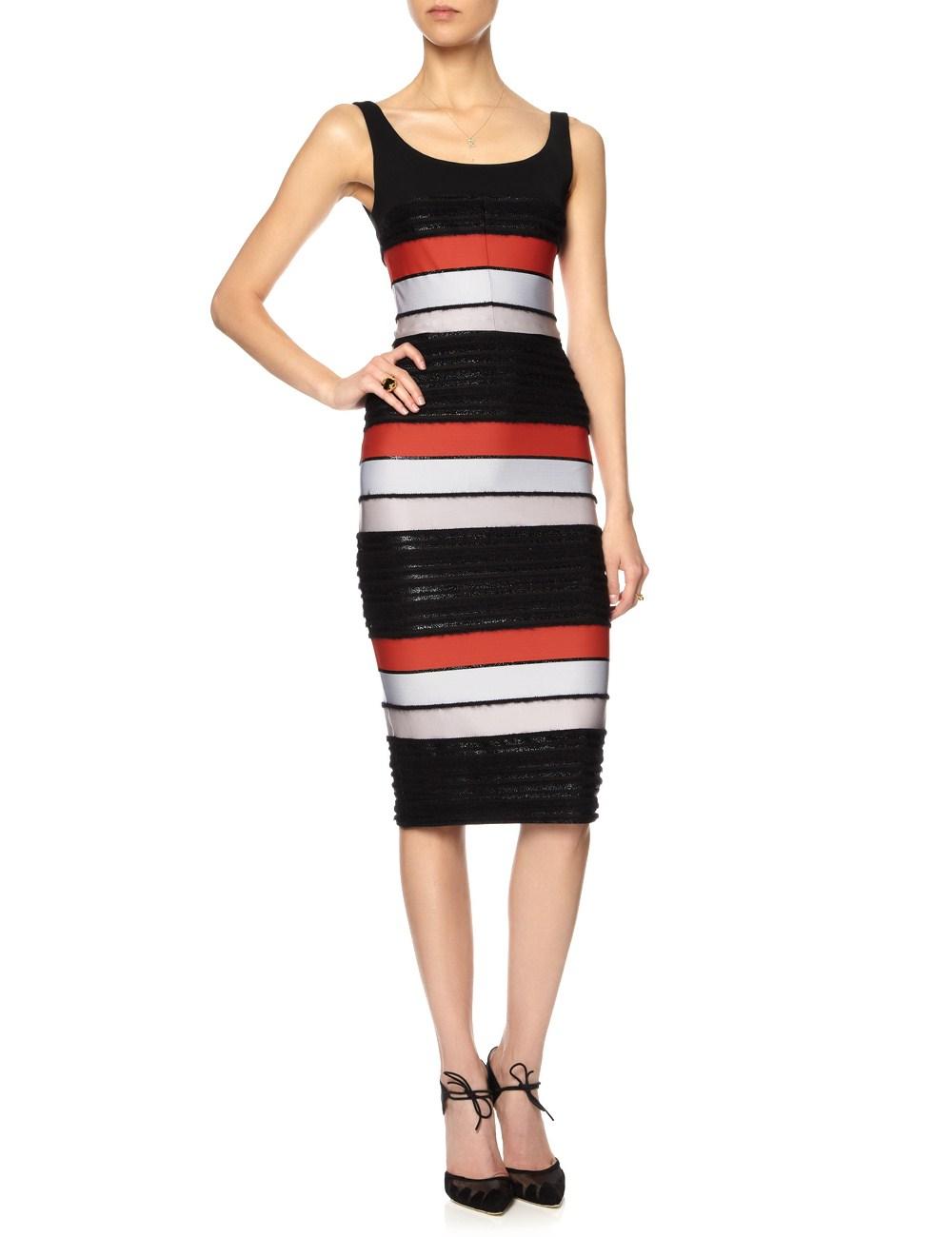 Multi textured stripe popper dress