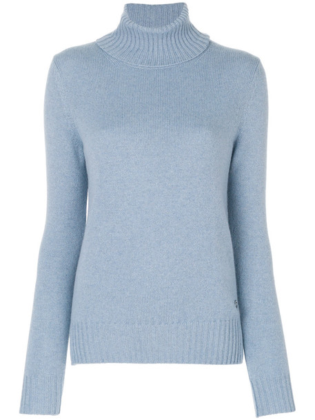 Loro Piana jumper women turtle blue sweater