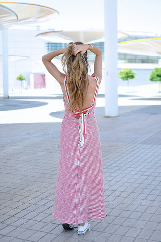 dress tumblr maxi dress long dress stripes striped dress open back backless sneakers converse shoes