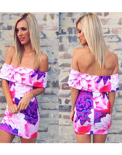 Sleeveless floral flower print backless flounce dress dresses party