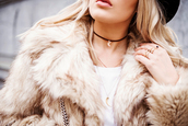 jewels,tumblr,fur coat,beige coat,choker necklace,black choker,crescent pendant,ring,gold ring,accessories,jewelry,necklace