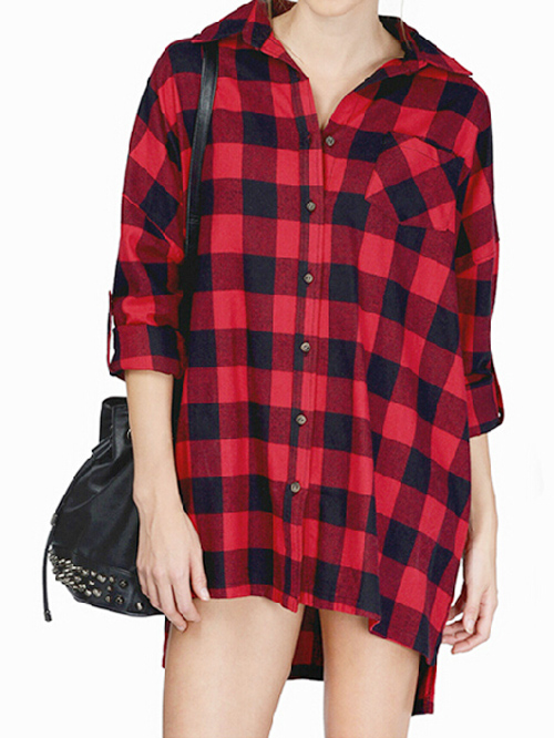 Boyfriend style red & black checked loose high low blouse