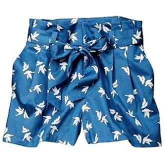 miu miu birds blue shorts shorts