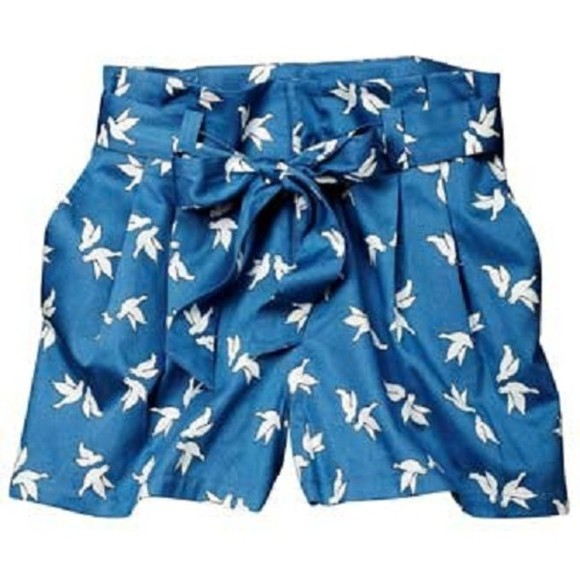 miu miu birds blue shorts