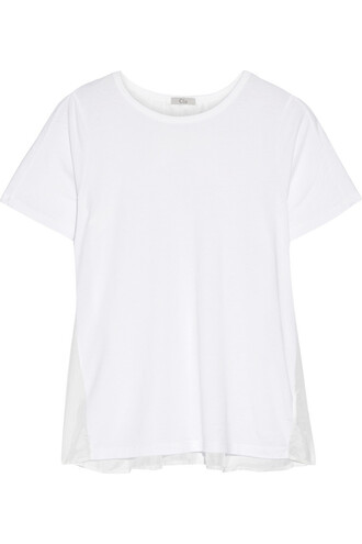 t-shirt shirt cotton silk white top