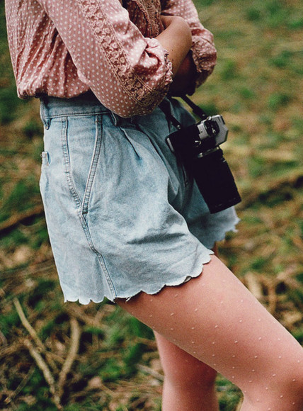 shorts beaautiful denim tumblr indie pretty boho model feild summery summer spring blouse scalloped