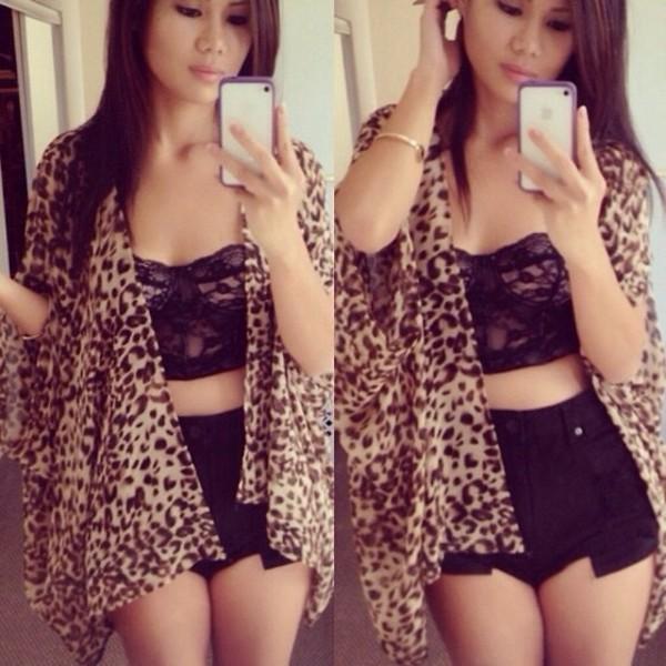 sweater leopard print leopard print chiffon cardigan butterfly urgent tank top shorts underwear