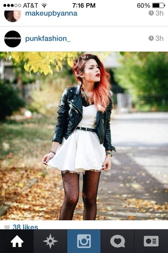 dress white dress leather jacket tights underwear white belted dress chic and edgy jacket le happy ombre hair black leather jacket little white dress luanna perez