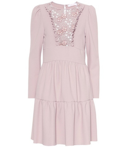 See By Chloé Floral lace bib dress in pink