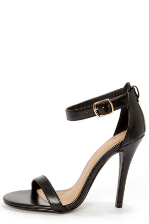 My Delicious Chacha Matte Black Single Strap High Heels - $22.00