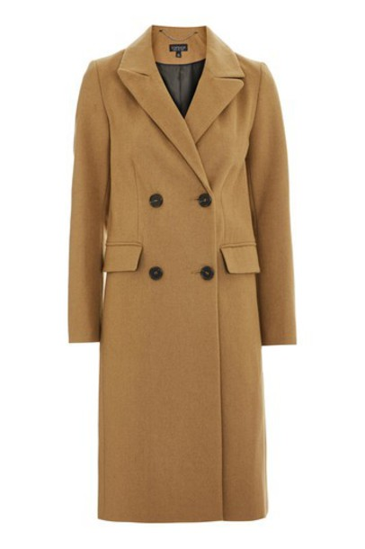 Topshop coat double breasted camel