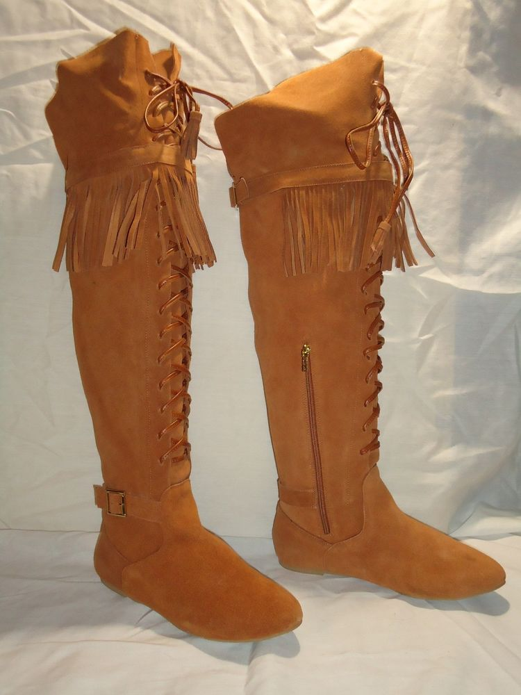 Stuart $238 Suede Over The Knee Lace Up Front Fringe Boots ...