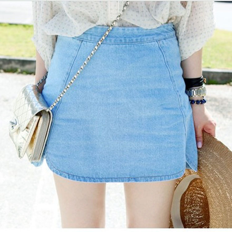 2014 New Summer Fashion Women's Skirt Wild Side Slits Rounded Edges Solid Light Blue Denim Skirt-in Skirts from Apparel & Accessories on Aliexpress.com