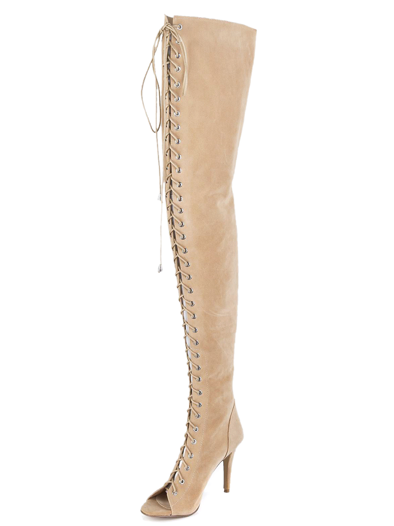 Lace-up Over Knee Suede Boots With Peep-toe - Choies.com