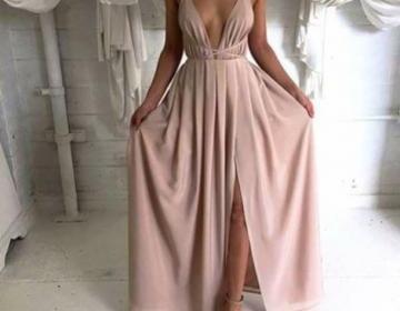Custom Made Backless Long Prom Dres..