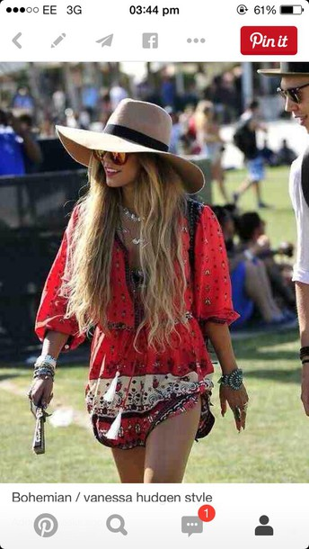 dress hippie red dress floaty dress festival dress vannessa hudgens patterned dress