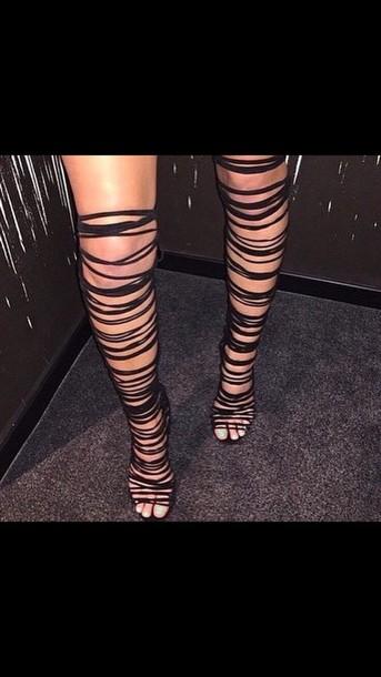 shoes gladiators black strings heels