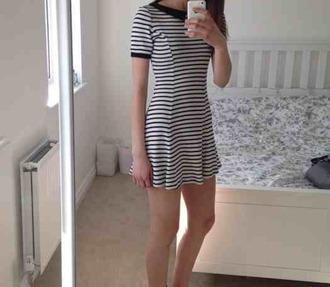 dress black white striped dress stripes black and white dress grunge pale hipster soft grunge dress