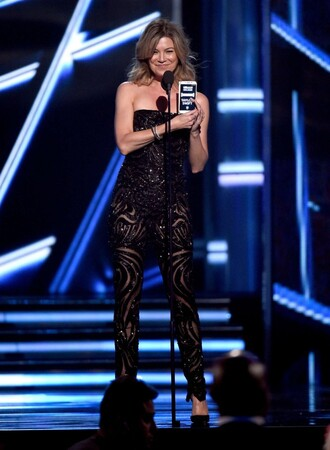 jumpsuit billboard music awards strapless bustier ellen pompeo black sparkly