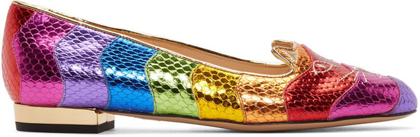 charlotte olympia rainbow metallic flats multicolor shoes
