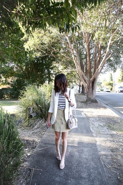 mademoiselle blogger top jacket skirt shoes bag jewels fall outfits blazer striped top shoulder bag