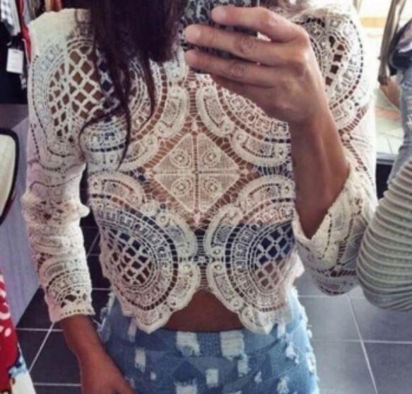 New Ladies TOWIE Ibiza Sexy Black White Cropped Lace Crochet Top Kimono Blouse