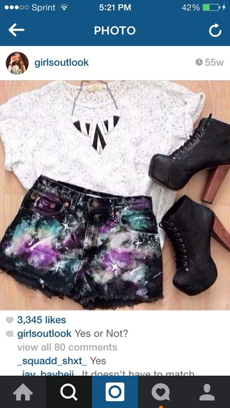 shorts high waisted shorts galaxy shorts shoes