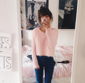 fluffy,fuzzy sweater,pink sweater,long sleeves,pastel