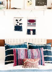 home accessory,boho,boho decor,pillow,wall decor,macrame,bedroom,bedding,cozy,colorful,tie dye,tribal pattern