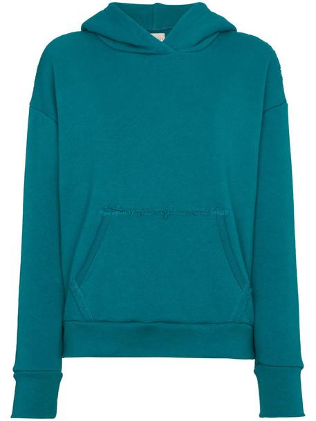 hoodie women cotton blue sweater